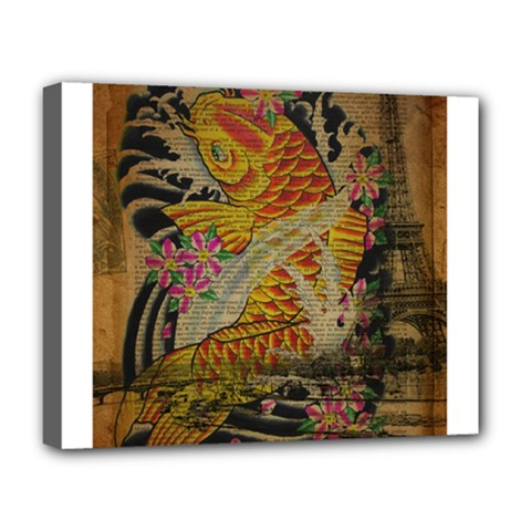 Funky Japanese Tattoo Koi Fish Graphic Art Deluxe Canvas 20  X 16  (framed)