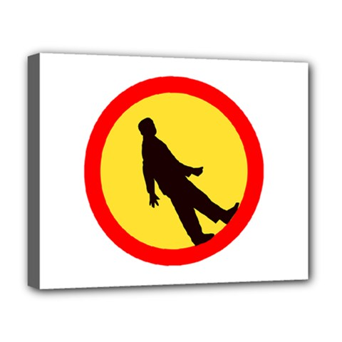 Walking Traffic Sign Deluxe Canvas 20  x 16  (Framed)
