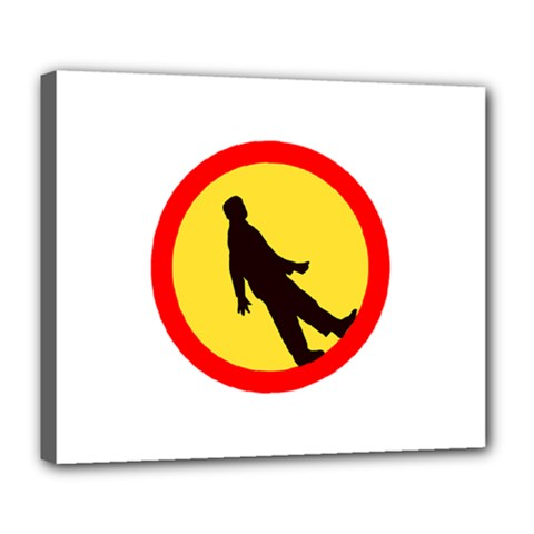 Walking Traffic Sign Deluxe Canvas 24  x 20  (Framed)