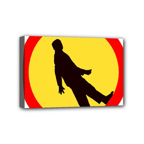 Walking Traffic Sign Mini Canvas 6  x 4  (Framed)