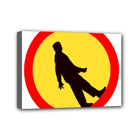 Walking Traffic Sign Mini Canvas 7  X 5  (framed)