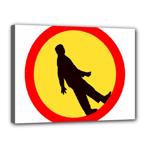 Walking Traffic Sign Canvas 16  x 12  (Framed)