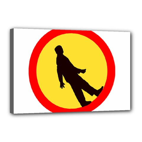 Walking Traffic Sign Canvas 18  x 12  (Framed)