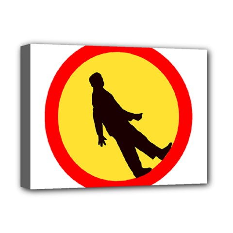 Walking Traffic Sign Deluxe Canvas 16  x 12  (Framed)