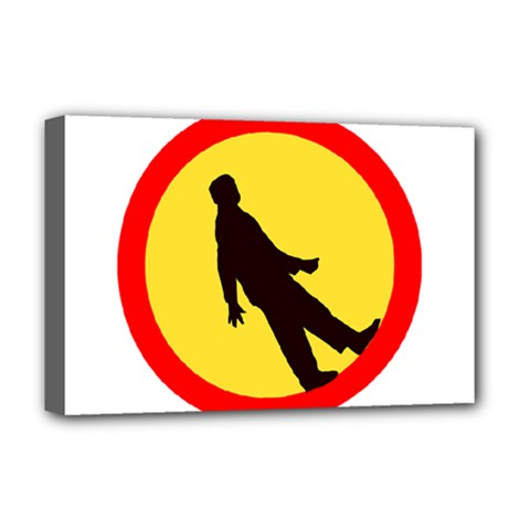 Walking Traffic Sign Deluxe Canvas 18  x 12  (Framed)