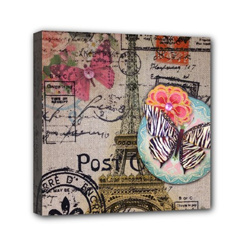 Floral Scripts Butterfly Eiffel Tower Vintage Paris Fashion Mini Canvas 6  X 6  (framed)