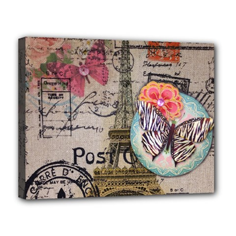 Floral Scripts Butterfly Eiffel Tower Vintage Paris Fashion Canvas 14  x 11  (Framed)