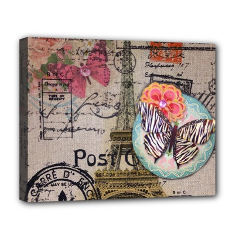 Floral Scripts Butterfly Eiffel Tower Vintage Paris Fashion Deluxe Canvas 20  X 16  (framed)