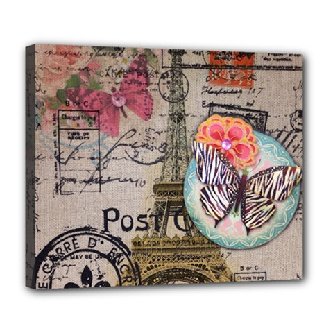 Floral Scripts Butterfly Eiffel Tower Vintage Paris Fashion Deluxe Canvas 24  x 20  (Framed)