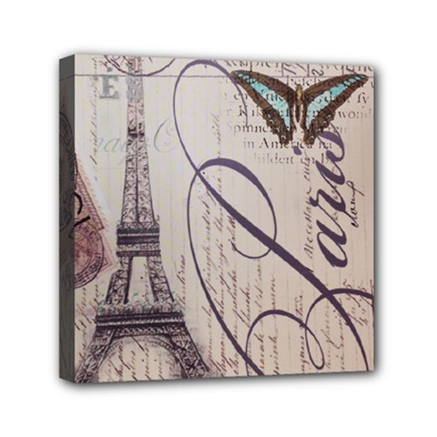 Vintage Scripts Floral Scripts Butterfly Eiffel Tower Vintage Paris Fashion Mini Canvas 6  x 6  (Framed)