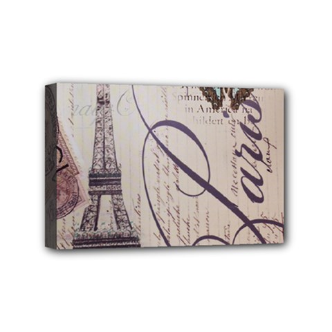 Vintage Scripts Floral Scripts Butterfly Eiffel Tower Vintage Paris Fashion Mini Canvas 6  X 4  (framed)