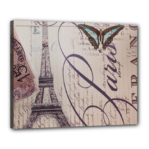 Vintage Scripts Floral Scripts Butterfly Eiffel Tower Vintage Paris Fashion Canvas 20  x 16  (Framed)