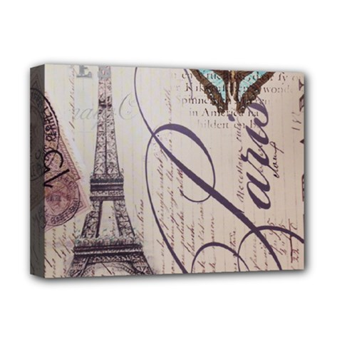 Vintage Scripts Floral Scripts Butterfly Eiffel Tower Vintage Paris Fashion Deluxe Canvas 16  X 12  (framed)