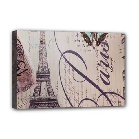 Vintage Scripts Floral Scripts Butterfly Eiffel Tower Vintage Paris Fashion Deluxe Canvas 18  X 12  (framed)