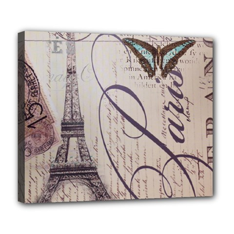 Vintage Scripts Floral Scripts Butterfly Eiffel Tower Vintage Paris Fashion Deluxe Canvas 24  X 20  (framed)