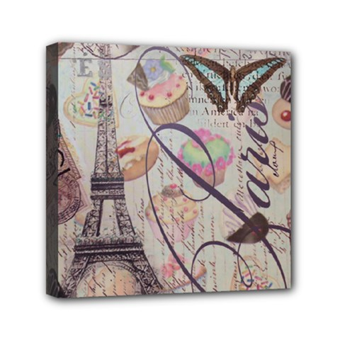 French Pastry Vintage Scripts Floral Scripts Butterfly Eiffel Tower Vintage Paris Fashion Mini Canvas 6  X 6  (framed)