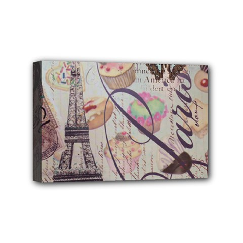 French Pastry Vintage Scripts Floral Scripts Butterfly Eiffel Tower Vintage Paris Fashion Mini Canvas 6  x 4  (Framed)