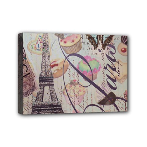 French Pastry Vintage Scripts Floral Scripts Butterfly Eiffel Tower Vintage Paris Fashion Mini Canvas 7  x 5  (Framed)