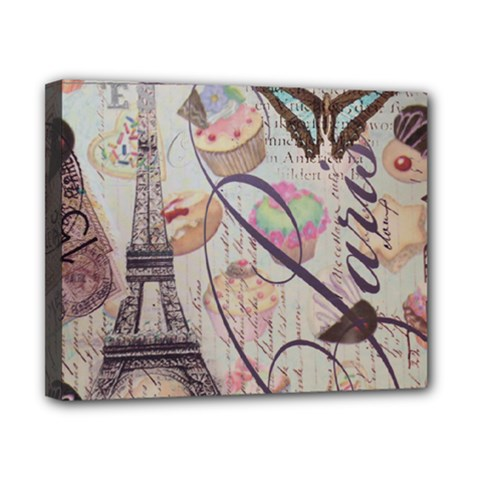French Pastry Vintage Scripts Floral Scripts Butterfly Eiffel Tower Vintage Paris Fashion Canvas 10  x 8  (Framed)