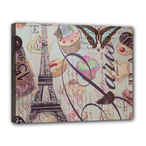 French Pastry Vintage Scripts Floral Scripts Butterfly Eiffel Tower Vintage Paris Fashion Canvas 14  x 11  (Framed)