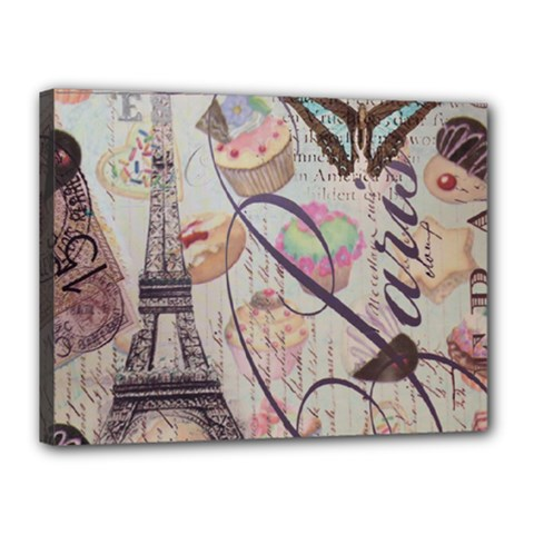 French Pastry Vintage Scripts Floral Scripts Butterfly Eiffel Tower Vintage Paris Fashion Canvas 16  x 12  (Framed)