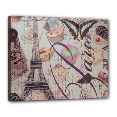 French Pastry Vintage Scripts Floral Scripts Butterfly Eiffel Tower Vintage Paris Fashion Canvas 20  X 16  (framed)