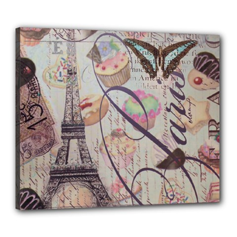 French Pastry Vintage Scripts Floral Scripts Butterfly Eiffel Tower Vintage Paris Fashion Canvas 24  x 20  (Framed)
