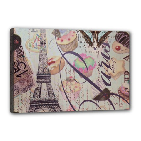 French Pastry Vintage Scripts Floral Scripts Butterfly Eiffel Tower Vintage Paris Fashion Canvas 18  x 12  (Framed)
