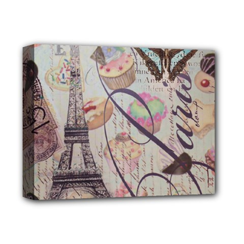 French Pastry Vintage Scripts Floral Scripts Butterfly Eiffel Tower Vintage Paris Fashion Deluxe Canvas 14  x 11  (Framed)
