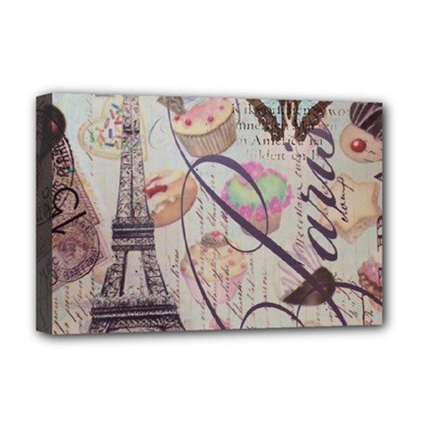 French Pastry Vintage Scripts Floral Scripts Butterfly Eiffel Tower Vintage Paris Fashion Deluxe Canvas 18  x 12  (Framed)