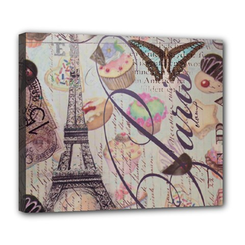 French Pastry Vintage Scripts Floral Scripts Butterfly Eiffel Tower Vintage Paris Fashion Deluxe Canvas 24  x 20  (Framed)