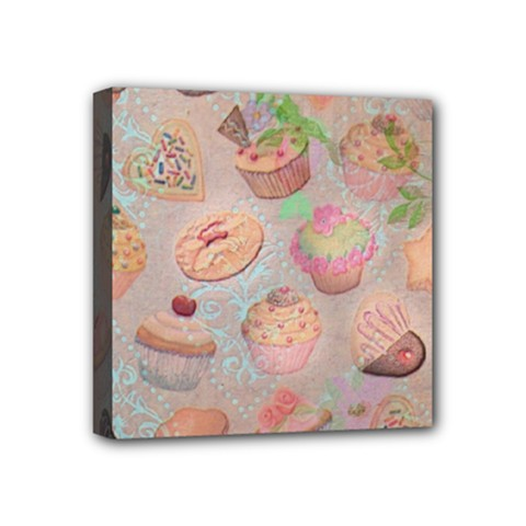 French Pastry Vintage Scripts Cookies Cupcakes Vintage Paris Fashion Mini Canvas 4  x 4  (Framed)