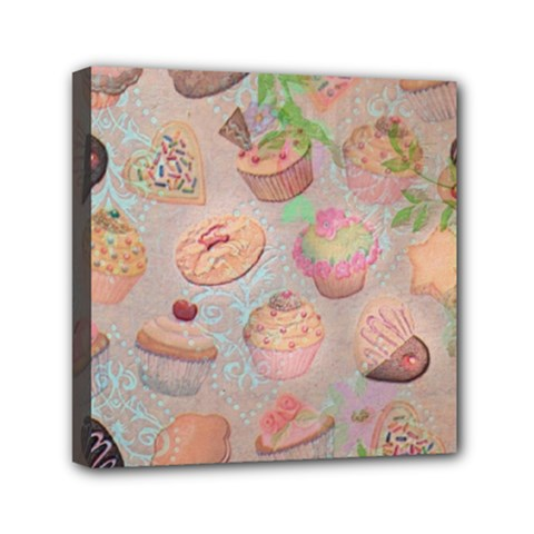 French Pastry Vintage Scripts Cookies Cupcakes Vintage Paris Fashion Mini Canvas 6  X 6  (framed)