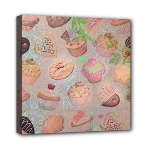 French Pastry Vintage Scripts Cookies Cupcakes Vintage Paris Fashion Mini Canvas 8  x 8  (Framed)