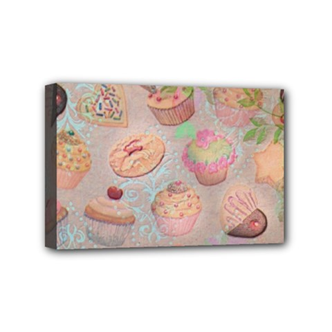 French Pastry Vintage Scripts Cookies Cupcakes Vintage Paris Fashion Mini Canvas 6  X 4  (framed)