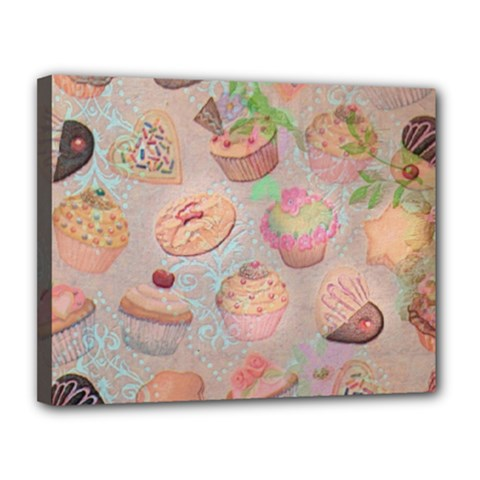 French Pastry Vintage Scripts Cookies Cupcakes Vintage Paris Fashion Canvas 14  x 11  (Framed)