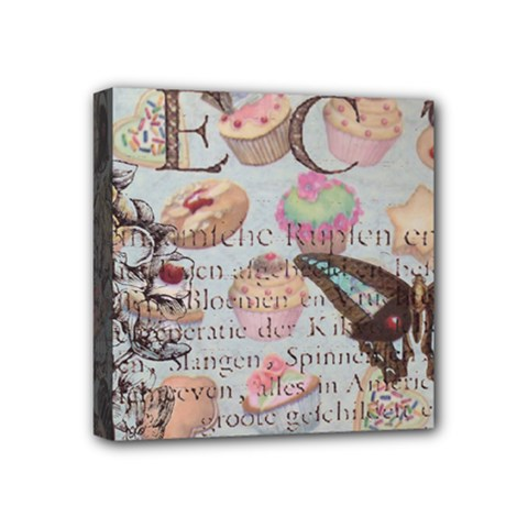 French Pastry Vintage Scripts Floral Scripts Butterfly Eiffel Tower Vintage Paris Fashion Mini Canvas 4  x 4  (Framed)