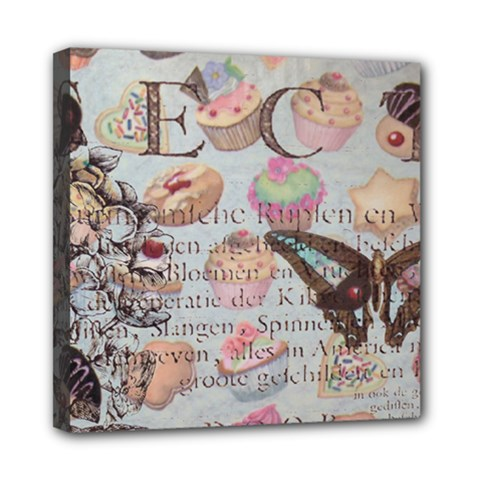 French Pastry Vintage Scripts Floral Scripts Butterfly Eiffel Tower Vintage Paris Fashion Mini Canvas 8  x 8  (Framed)