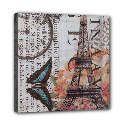 Vintage Clock Blue Butterfly Paris Eiffel Tower Fashion Mini Canvas 8  X 8  (framed)