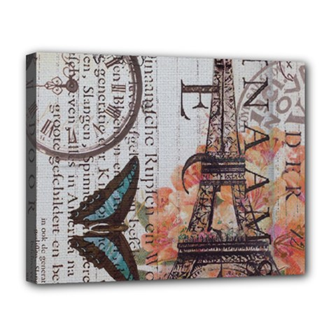 Vintage Clock Blue Butterfly Paris Eiffel Tower Fashion Canvas 14  X 11  (framed)