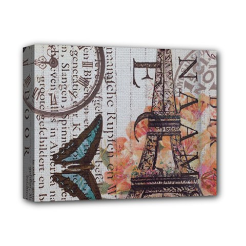 Vintage Clock Blue Butterfly Paris Eiffel Tower Fashion Deluxe Canvas 14  x 11  (Framed)