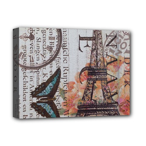 Vintage Clock Blue Butterfly Paris Eiffel Tower Fashion Deluxe Canvas 16  X 12  (framed)