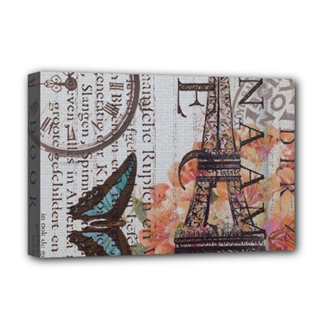 Vintage Clock Blue Butterfly Paris Eiffel Tower Fashion Deluxe Canvas 18  x 12  (Framed)
