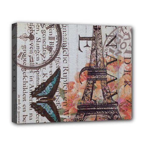 Vintage Clock Blue Butterfly Paris Eiffel Tower Fashion Deluxe Canvas 20  x 16  (Framed)