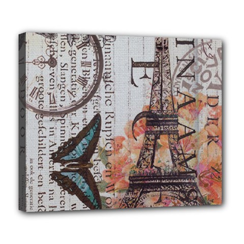 Vintage Clock Blue Butterfly Paris Eiffel Tower Fashion Deluxe Canvas 24  x 20  (Framed)