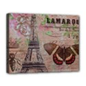 Girly Bee Crown  Butterfly Paris Eiffel Tower Fashion Canvas 14  x 11  (Framed) View1