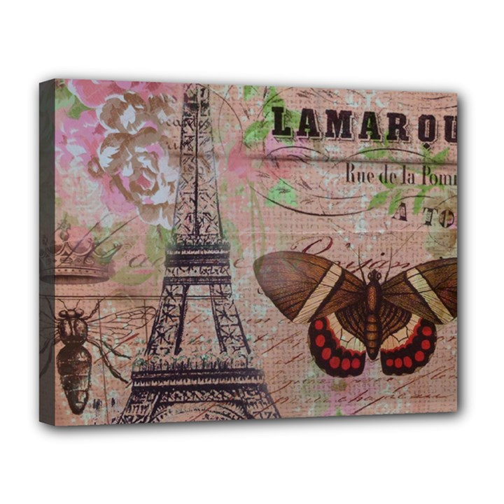 Girly Bee Crown  Butterfly Paris Eiffel Tower Fashion Canvas 14  x 11  (Framed)