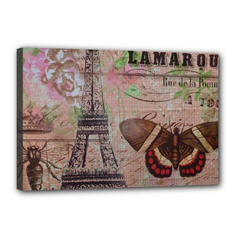 Girly Bee Crown  Butterfly Paris Eiffel Tower Fashion Canvas 18  x 12  (Framed)