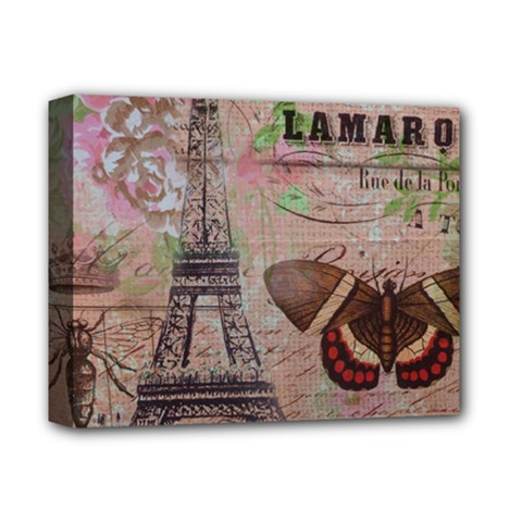 Girly Bee Crown  Butterfly Paris Eiffel Tower Fashion Deluxe Canvas 14  X 11  (framed)