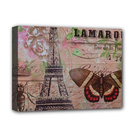 Girly Bee Crown  Butterfly Paris Eiffel Tower Fashion Deluxe Canvas 16  X 12  (framed)